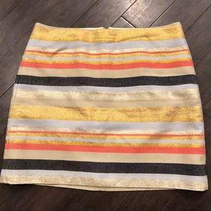 [J. Crew] Metallic Striped Skirt
